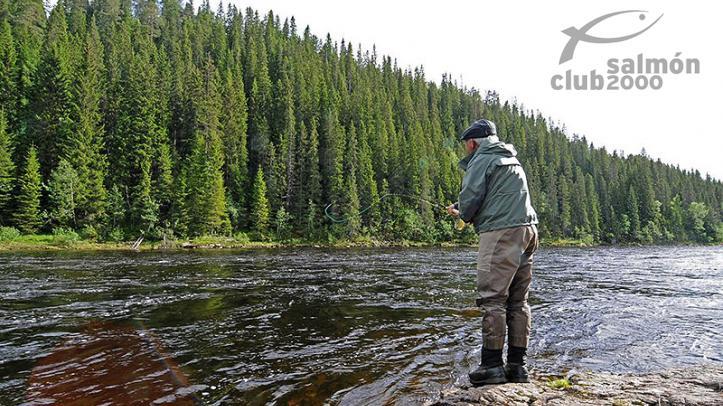 Pescador en la sección superior del río Gaula. NFC Tramo UG